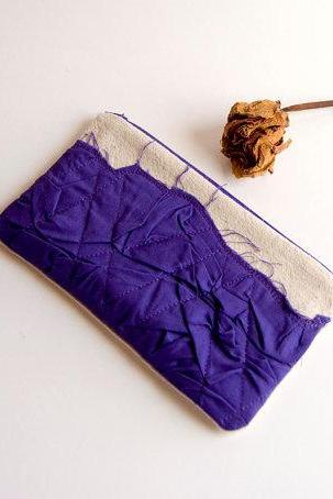 Purple Bridal Wedding Clutch or Bridesmaid Clutch, Pouch, Purse - Crazy Lola pleats by Lolos