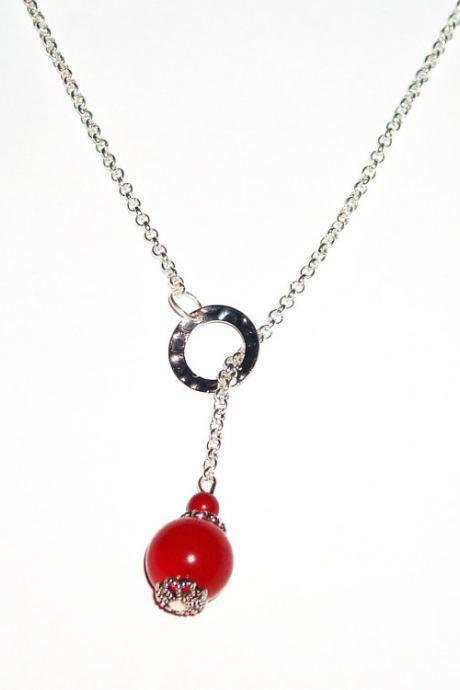 Lariat red bead necklace