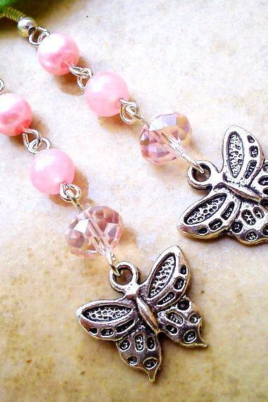 BUY 4 - GET 1 pair earrings FREE..Dangle crystal silver butterfly charm pink earrings- beautiful affordable gift