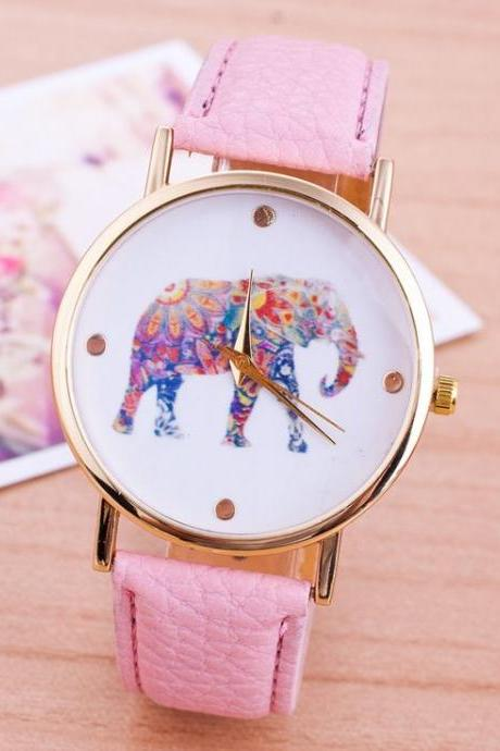 Elephant colorful face Pu leather pink band unisex watch