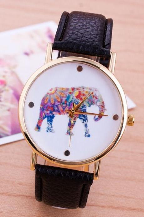 Elephant colorful face Pu leather black band unisex watch