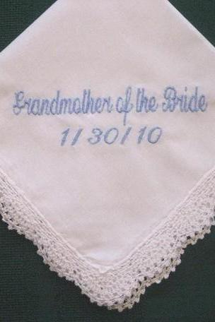 Personalized Wedding Gift - Wedding Bridal Handkerchief for the Grandmother with Gift Box 82S