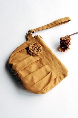 Mustard gold Bridal Wedding Clutch or Bridesmaid Clutch, Wristlet, Pouch, Purse - Romantic Rosebud pleats by Lolos