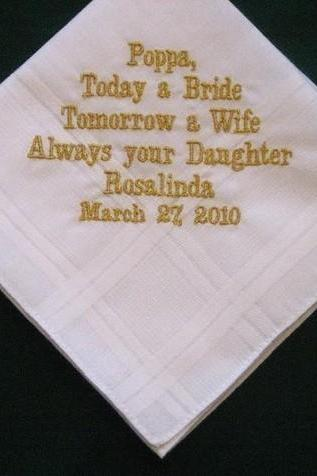 Personalized Wedding Gift - Wedding handkerchief for Papa with gold thread with Gift Box 22B