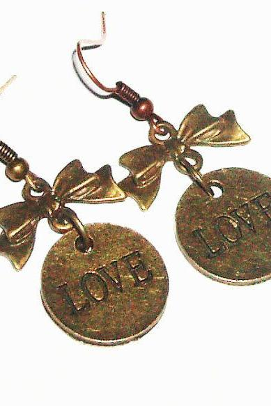 BUY 4 - GET 1 pair earrings FREE..Love bronze bow tie metal earrings-affordable gift