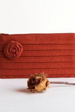 Terracotta Orange Bridal Clutch or Bridesmaids Clutch, Pouch, Purse - Romantic Rose pleats by Lolos