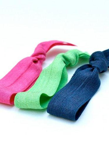 Elastic Hair Ties (3) - Preppy Hair Tie Colors - Hair Accessories - No Crease Pony Tail - No Tug Hair Tie Set - Party Favor - Preppy Gift