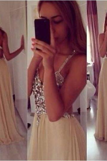 Pretty Champagne Straps Cross Back Beaded Chiffon Long Prom Dresses, Champagne Prom Gowns, Evening Dresses, Formal Gowns