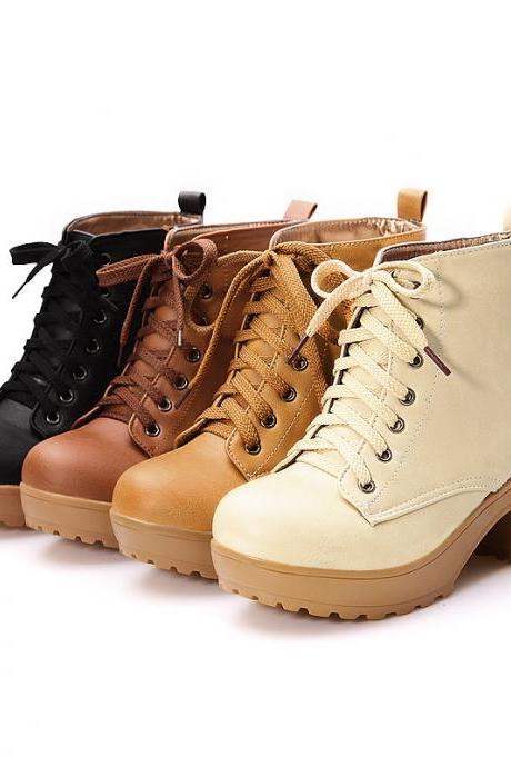 New 2015 autumn boots spring women boots, Artificial high heel Platform lace up ankle boots girls shoes