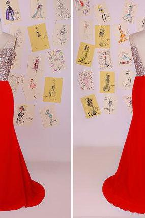 Red V Neck Beading Sequins Mermaid Long Prom Dress/Red Mermaid Evening Dress/Red Mermaid Party Dress/Mermaid Long PromDress DAF0037
