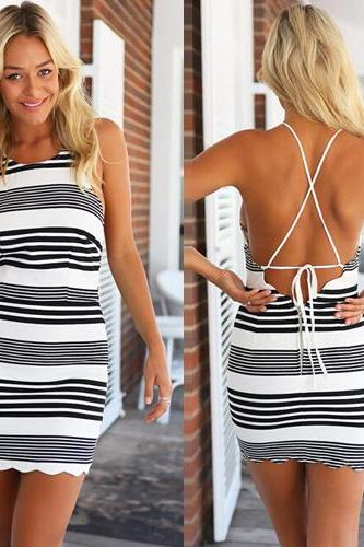 Bandage Slim Backless Stripes Summer Party Dresses 80PX7DKQEFOW75YFWC36P IIS7LGUID35