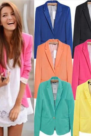 2014-2015 fashion Female Autumn Candy Color One Button Suit Jacket Coat