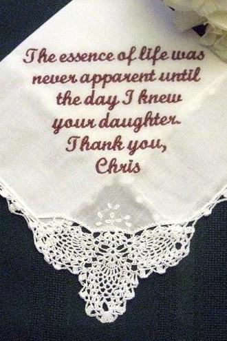 Wedding Handkerchief from the Groom to Mother of the Bride 1SL