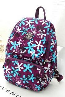 Waterproof Nylon Shoulder Bag Travel Backpack Handbag - Purple Flowers