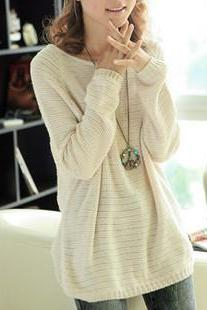 Beige Loose Bat Hollow Sweater DS71907