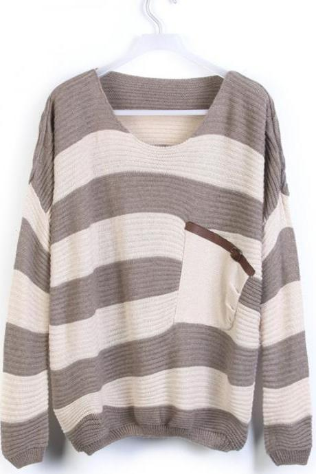 Coffee Stripe Bat Long Sleeve Sweater DS092105