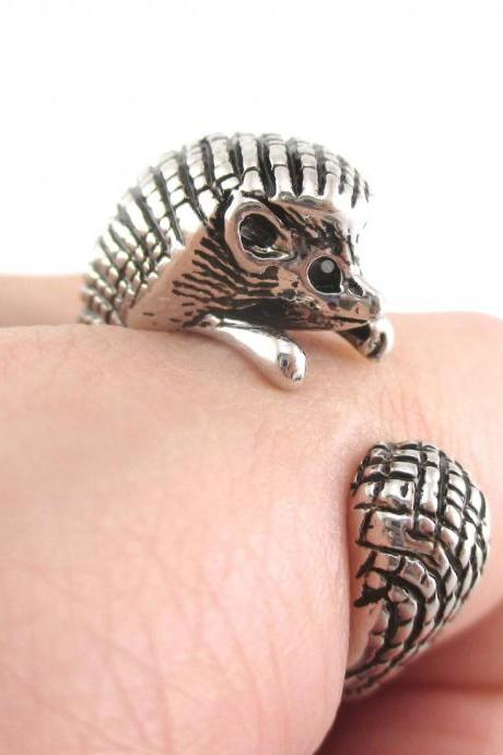 Hedgehog Porcupine Animal Wrap Ring in Shiny Silver Sizes 4 to 9 US Realistic and Cute!