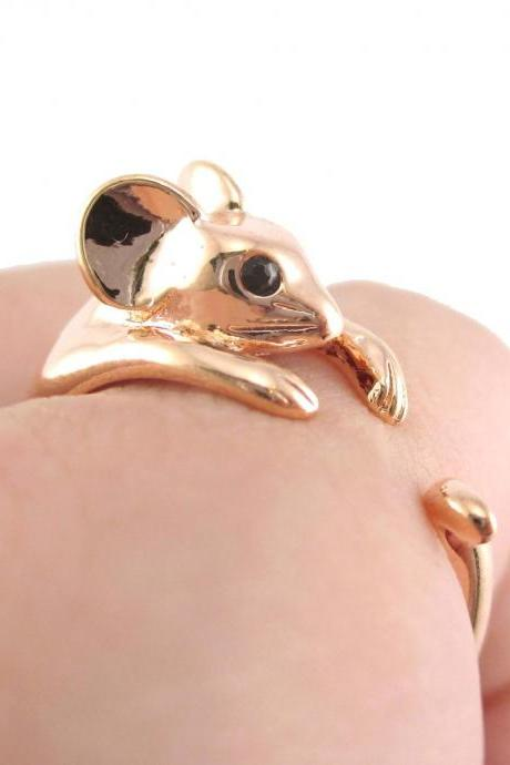 Realistic Mouse Animal Wrap Around Hug Ring in SHINY Copper - Sizes 4 to 8.5
