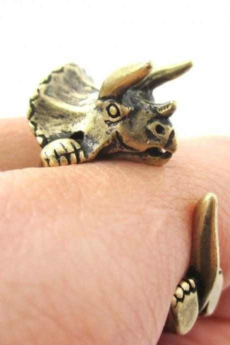 Large Triceratops Dinosaur Animal Wrap Around Hug Ring in Brass | Sizes 4 - 8.5