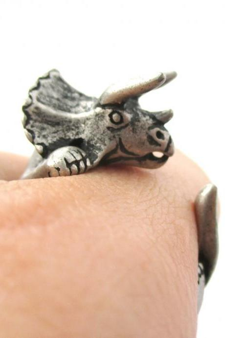Large Triceratops Dinosaur Animal Wrap Around Hug Ring in Silver | Sizes 4 - 8.5