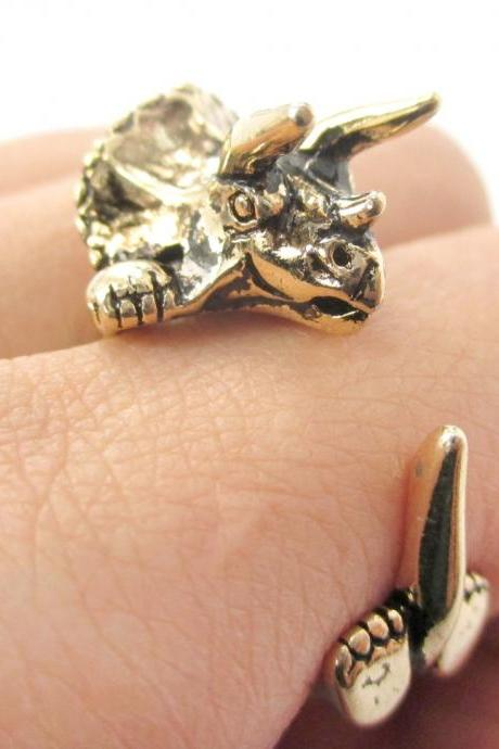 Large Triceratops Dinosaur Animal Wrap Around Hug Ring in Shiny Gold | Sizes 4 - 8.5