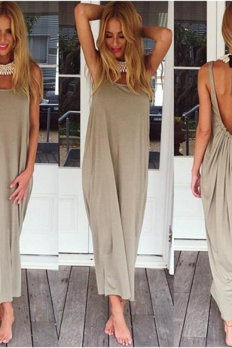 Backless Sleeveless Summer Maxi Dress - Summer Bikini Dress (available in 5 colors - size S, M, L)