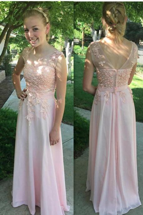 Charming Pink Appliques Prom Dresses, Floor-Length Evening Dresses, Prom Dresses, Real Made Prom Dresses