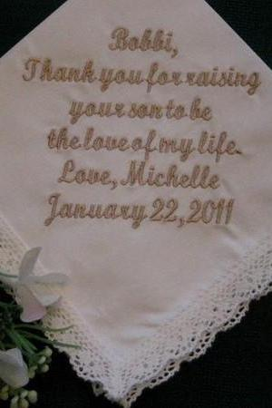 Personalized Wedding Gift-Wedding Handkerchief-Ivory - for Mother of the Groom with Gift Box 99S