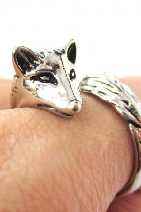 Fox Animal Ring Wrapped Around Your Finger in Shiny Silver | Sizes 5 - 9