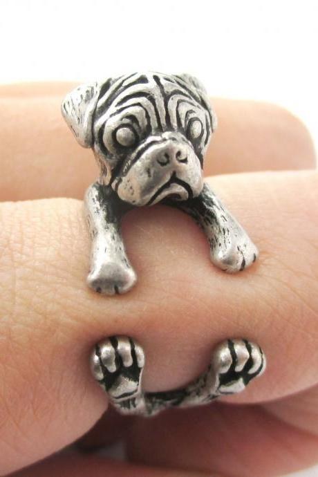 Pug Animal Ring Wrapped Around Your Finger in Silver | Sizes 4 - 8.5