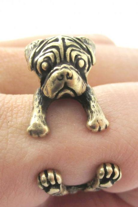 Pug Animal Ring Wrapped Around Your Finger in Brass | Sizes 4 - 8.5