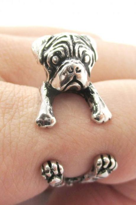 Pug Animal Ring Wrapped Around Your Finger in Shiny Silver | Sizes 4 - 8.5