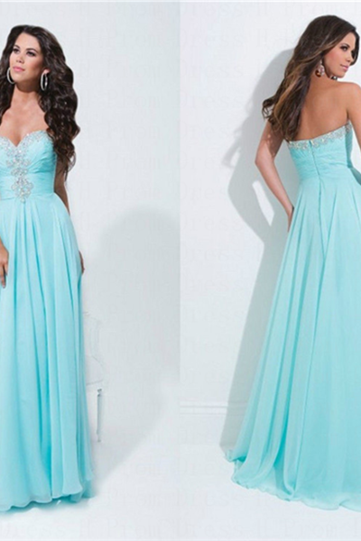 Custom Made Crystal-Embellished Sweetheart Neckline Long Chiffon Evening Dress, Prom Dresses, Maxi Dress