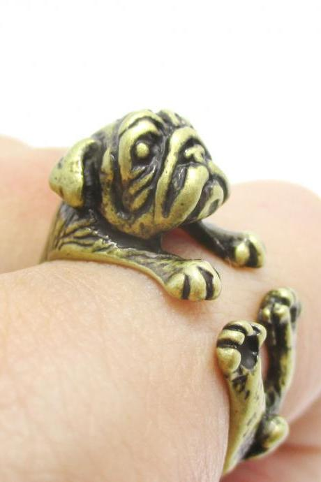 Pug Animal Ring Wrapped Around Your Finger in Brass | Sizes 6 to 9