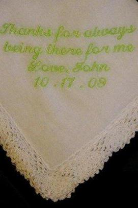 Personalized Wedding Gift - Wedding handkerchief for Mother of the Groom with Gift Box 51S