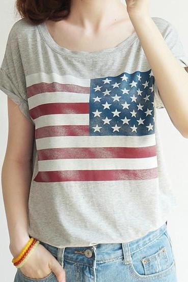 AMERICAN FLAG PRINTED SHORT-SLEEVED SHIRTS