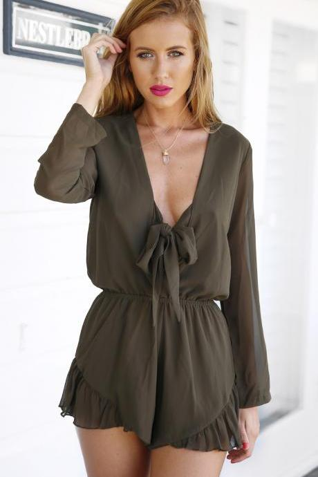 Olive Green Bow Accent Plunge V Long Sleeved Romper Featuring Ruffle Hem