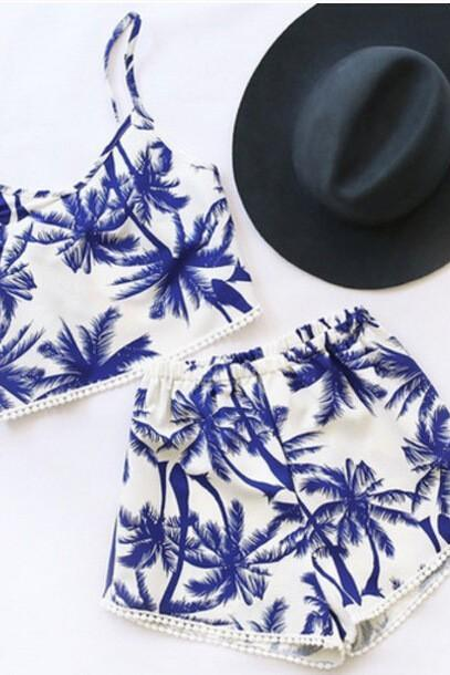 2579238 TROPICAL TREE PRINTING TWO - PIECE SWIMSUITS