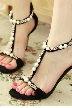 Sexy beaded peep-toe diamond high-heeled sandals