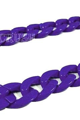 Purple CHUNKY Chain Plastic Link Necklace Craft DIY 30 inch A26