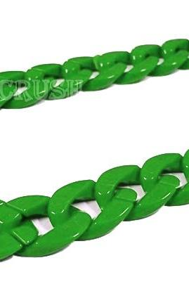 Green Chunky Chain Plastic Link Necklace Craft DIY 30 inches A63