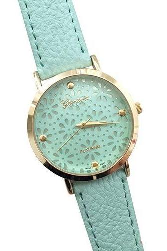 Cute floral teen girl party green watch