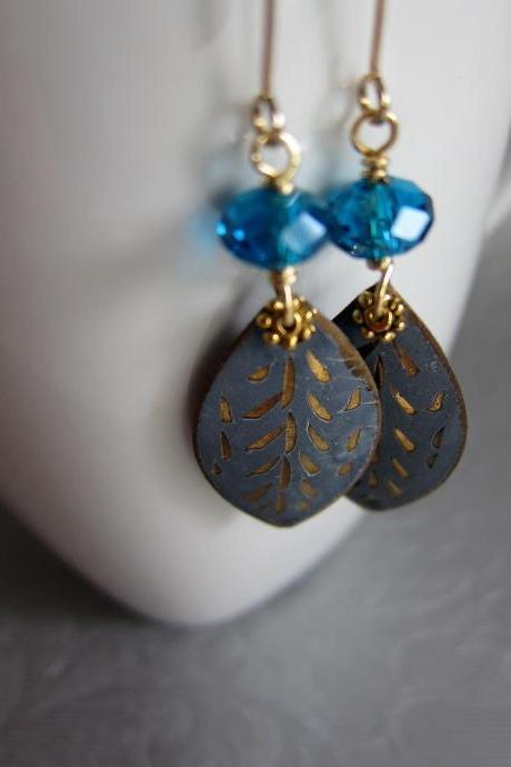 Moments earrings - vintage incised chamr with teal blue crystals on 14K gold plated ear hooks - Nostalgic style