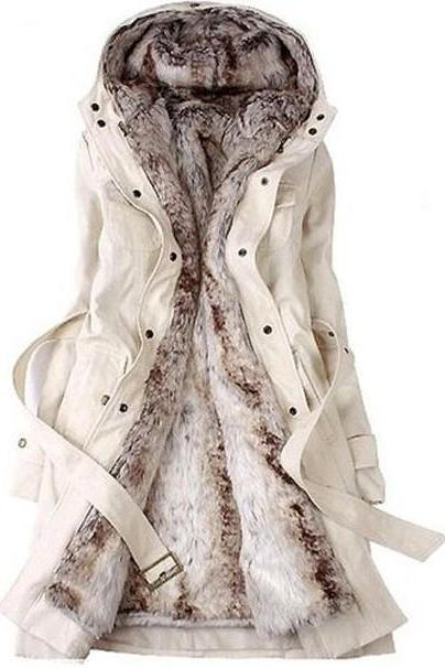 Women Fashion Winter Faux Fur Lined Waistband Beam Waist Pockets Hooded Coat Outerwear