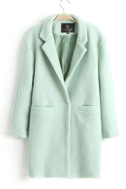 Women Long Sleeve Trench Coat Fashion Wool Blend Jacket Big Lapel Collar