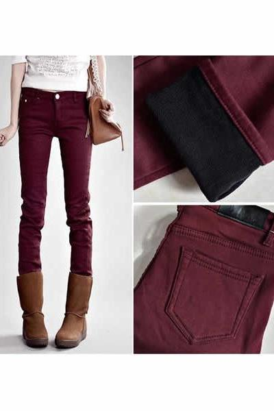 Slimming Solid Color Fleece Lining Pencil Pants