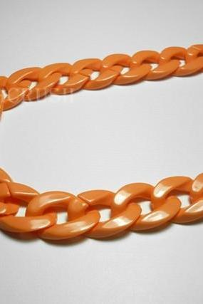 ORANGE Chunky ChainPlastic Link Necklace Craft DIY 30 inch A14