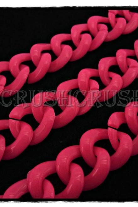 50pcs Baby Acrylic CHUNKY Link Chain Hot Pink Colors X78