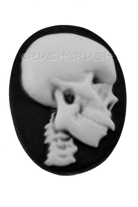 5pcs 25x18mm Skull Skeleton Cameos FLAT BACK Cabochons F162