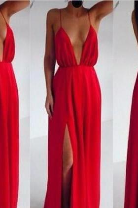 Fabulous Deep V Neck Maxi Dress In Red